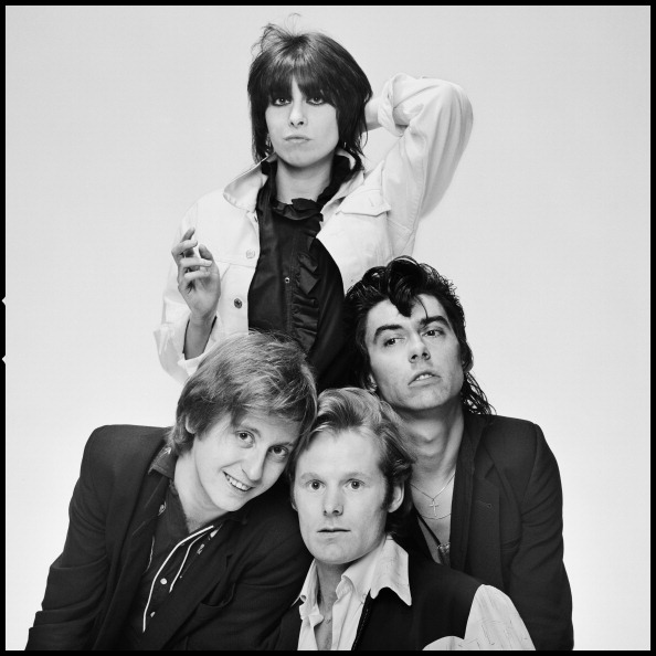 English-American rock group The Pretenders, photographed in London, 1980. Clockwise from top: singer and guitarist Chrissie Hynde, bassist Pete Farndon (1952 - 1983), drummer Martin Chambers and guitarist James Honeyman-Scott (1956 - 1982). (Photo by Chalkie Davies/Getty Images)